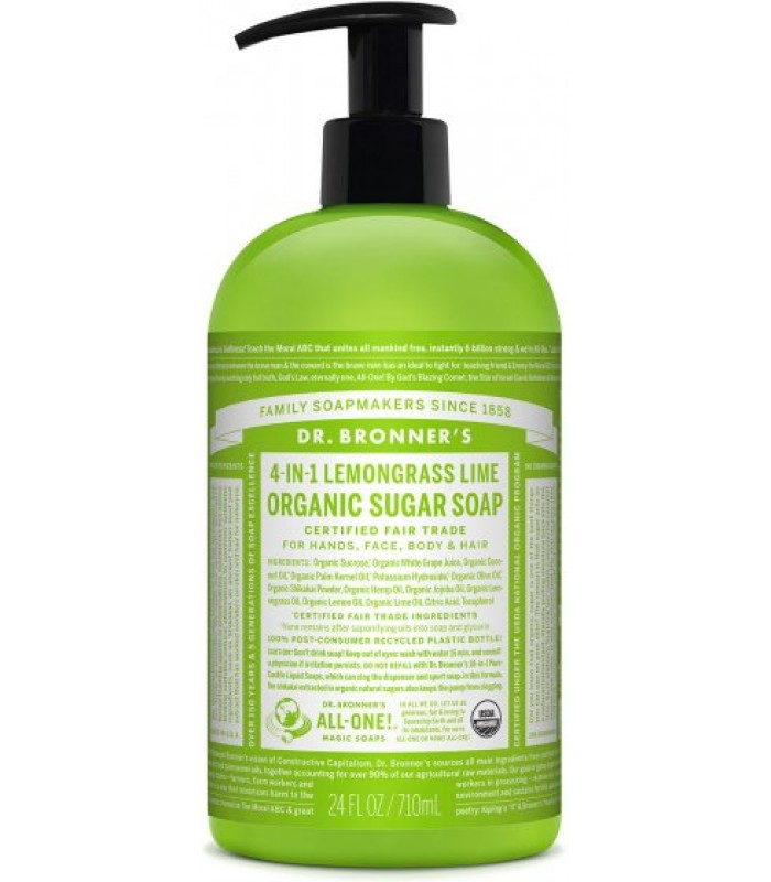 Dr Bronner's LEMONGRASS LIME Organic Sugar Soap